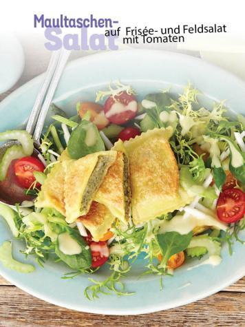 Rezept - Maultaschen-Salat auf Frisée und Feldsalat mit Tomaten - Simply Kochen Sonderheft - Frühlingssalate
