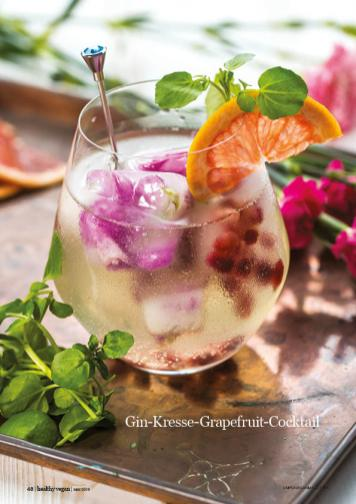 Rezept - Gin-Kresse-Grapefruit-Cocktail - Healthy Vegan 03/2019