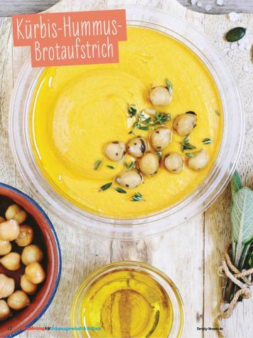 Rezept - Kürbis-Hummus-Brotaufstrich - Simply Kochen Sonderheft - Ernährung in der Schwangerschaft - mit Nina Kämpf von Mamaaempf