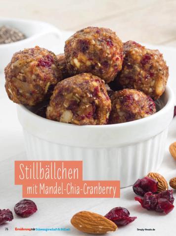 Rezept - Stillbällchen mit Mandel-Chia-Cranberry - Simply Kochen Sonderheft - Ernährung in der Schwangerschaft - mit Nina Kämpf von Mamaaempf