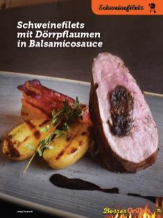 Rezept - Schweinefilets mit Dörrpflaumen in Balsamicosauce - Simply Kochen Sonderheft Besser Grillen mit den Grillweltmeisten
