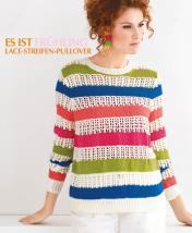 Strickanleitung - Es ist Frühling - Lace-Streifen-Pullover - Designer Knitting - 03/2019