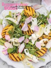 Rezept - Brunnenkresse-Salat mit gegrillten Pfirsichen, Mozzarella und Rosendressing - Simply Kochen Sonderheft Sommer-Salate