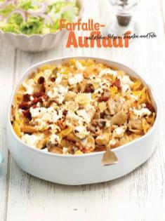 Rezept - Farfalle-Auflauf mit Huhn, Pilzen, Tomaten und Feta - Simply Kochen Sonderheft Nudeln