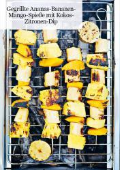Rezept - Gegrillte Ananas-Bananen-Mango-Spieße mit Kokos-Zitronen-Dip - Healthy Vegan 05/2019