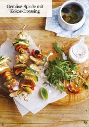 Rezept - Gemüse-Spieße mit Kokos-Dressing - Healthy Vegan 05/2019