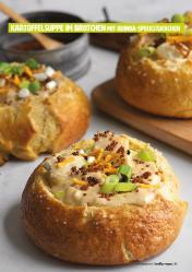 Rezept - Kartoffelsuppe im Brötchen mit Quinoa-Speckstückchen - Healthy Vegan 05/2019