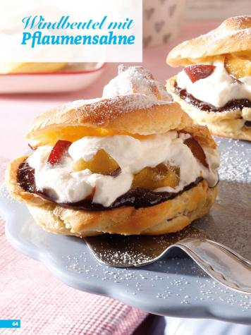 Rezept - Windbeutel mit Pflaumensahne - Simply Backen Sonderheft Kuchen Äpfel + Pflaumen