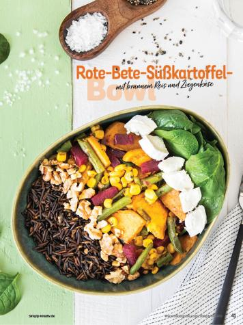 Rezept - Rote-Bete-Süßkartoffel-Bowl mit braunem Reis und Ziegenkäse - Simply Kochen Sonderheft Bowls