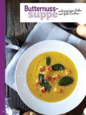 Rezept - Butternusssuppe mit knusprigem Salbei und Apfel-Croutons - Simply Kochen Weihnachts-Menü – 05/2019