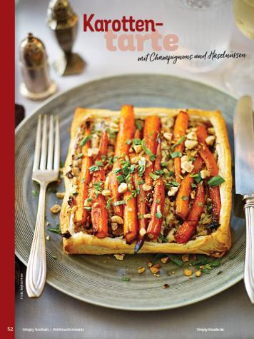 Rezept - Karottentarte mit Champignons und Haselnüssen - Simply Kochen Weihnachts-Menü – 05/2019