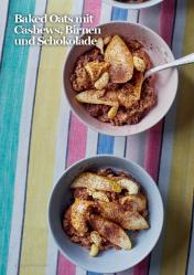 Rezept - Baked Oats mit Cashews, Birnen und Schokolade - Vegan Food & Living – 01/2020