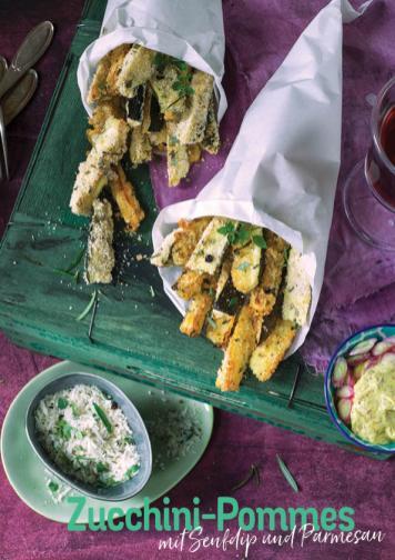 Rezept - Zucchini-Pommes mit Senfdip und Parmesan - Simply Kochen Heißluft-Fritteuse