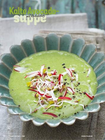 Rezept - Kalte Avocadosuppe mit Radieschen - Simply Kochen Diät-Rezepte für gesunde Ernährung