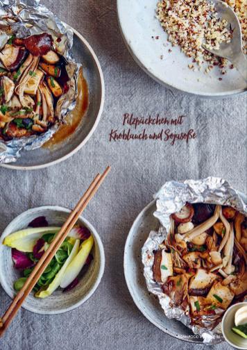 Rezept - Pilzpäckchen mit Knoblauch und Sojasoße - Vegan Food & Living – 03/2020