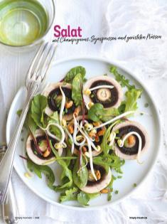 Rezept - Salat mit Champignons, Sojasprossen und gerösteten Nüssen - Simply Kochen Diät-Rezepte für gesunde Ernährung
