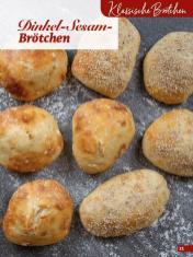 Rezept - Dinkel-Sesam-Brötchen - Simply Backen Extra Brötchen