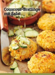 Rezept - Couscous-Bratlinge mit Salat - Vegan Food & Living – 04/2020