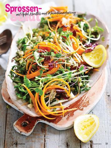 Rezept - Sprossen-Salat mit Apfel, Karotten und Macadamiadressing - Simply Kochen Sonderheft Sommerrezepte 01/2020