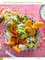 Rezept - Zoodle-Bowl mit Süßkartoffelsticks , Kräuterdip und Datteln - Simply Kochen Sonderheft: One-Pot-Gerichte