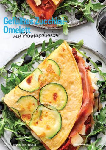 Rezept - Gefülltes Zucchini-Omelett mit Parmaschinken - Simply Kochen Kompakt Low Carb 01/2021