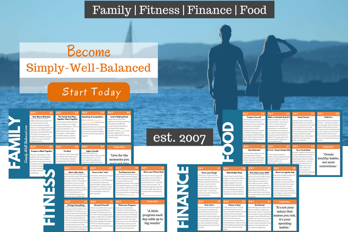 Improve your life with our 4 week wellness challenge | Self Improvement | Family Challenge | Fitness Challenge | Simply-Well-Balanced | Wellness Challenge