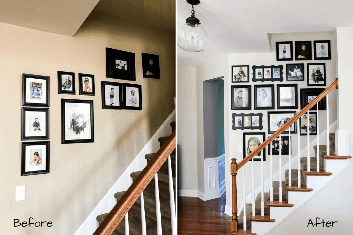 Staircase Gallery Wall Simply2Moms | Stairs Side Wall Design | Modern | Stone | Pop | Wallpaper | Stair Pattern