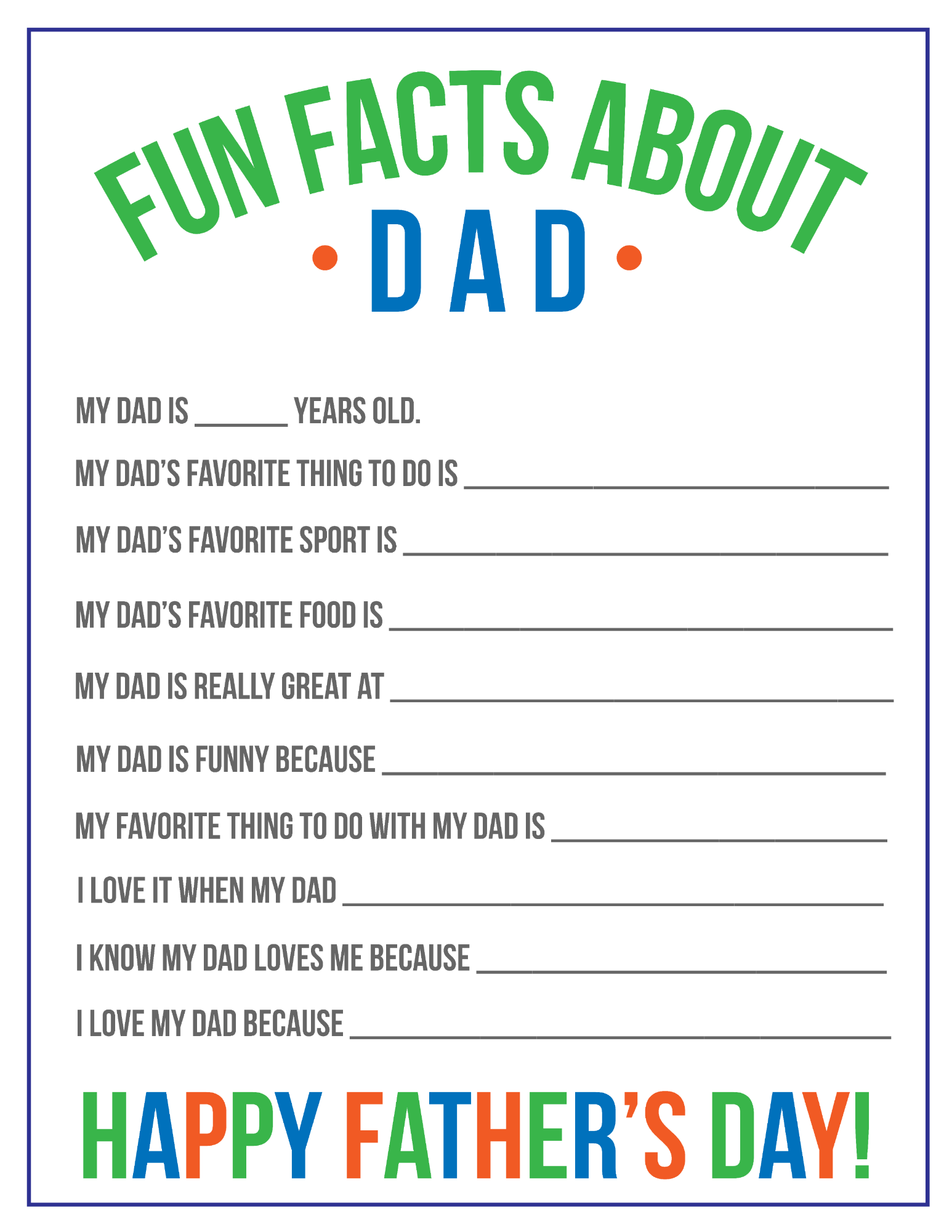 Fun Facts About Dad Printable For Father S Day