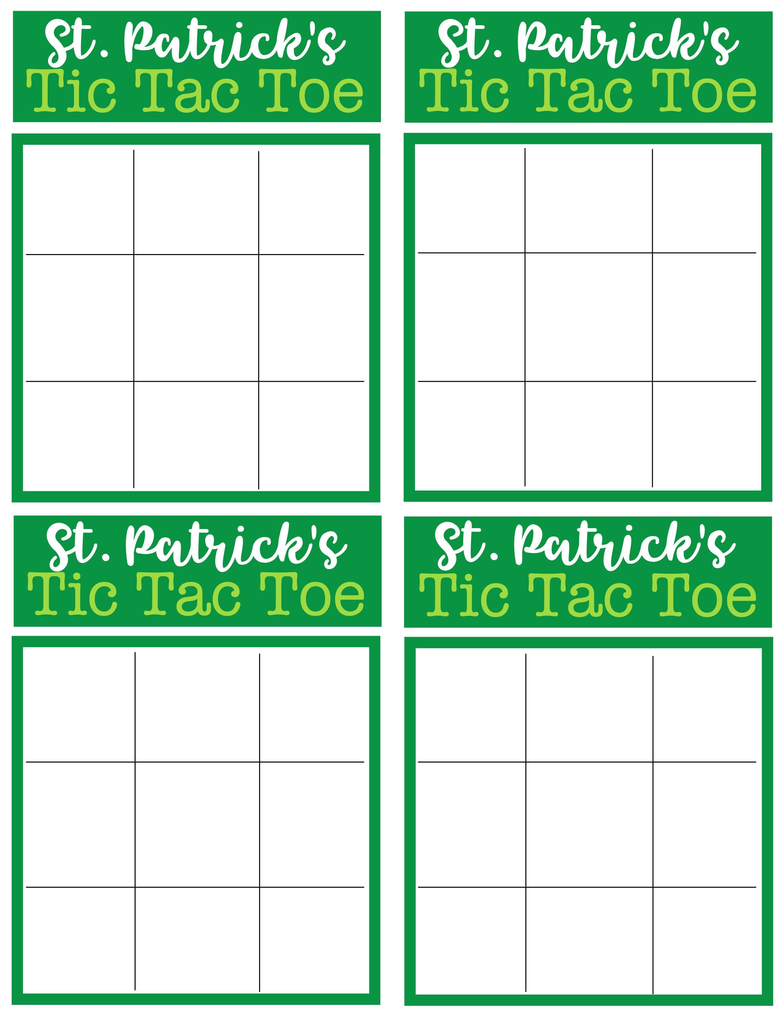 St Patrick S Day Tic Tac Toe Printable