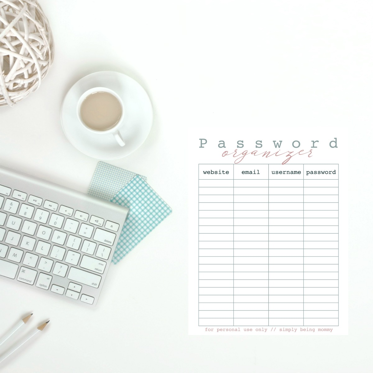 Printable Password Organizer