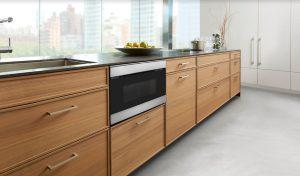 Sharp Microwave Drawer in a wooden kitchen design.