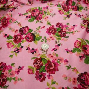 Rayon Spandex Pink Red Fuchsia Coral Floral