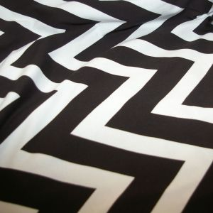 Cotton Lycra Black White Chevron
