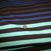 Cotton Lycra Black Mint Blue Gray Stripe
