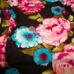 Rayon Spandex Black Coral Turquoise Red Fuchsia Floral