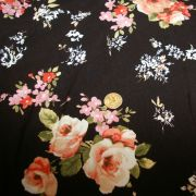 Rayon Spandex Black Coral, Pink Orange