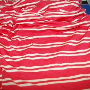 Rayon Spandex salmon ivory stripe
