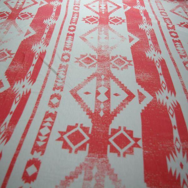 Coral Aztec Geometric Stripe Rayon Spandex