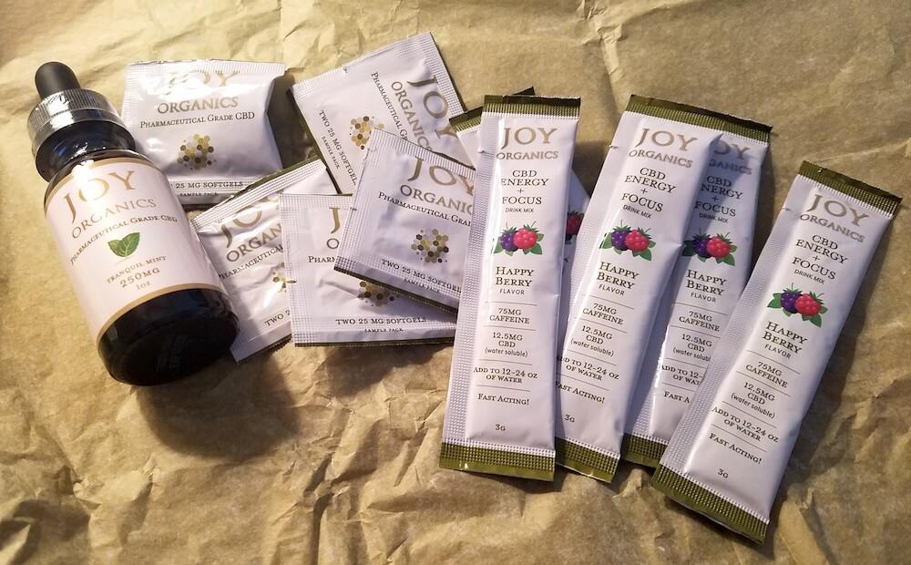 Joy Organics CBD Oil Tinctures, Softgels and Energy Drink Mix