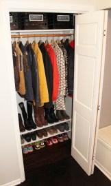 Coat closet makeover + DIY built-in shoe shelves