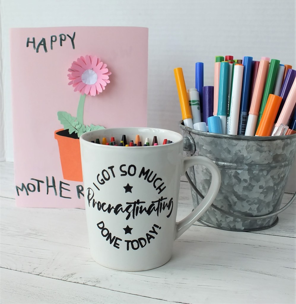 mug stenciled with contact paper