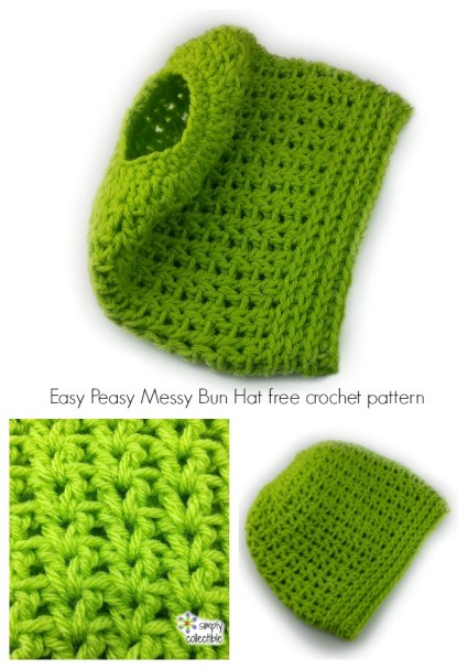 Messy Bun Crochet Hat, Pony Tail Crochet Hat, Open crochet hat, updo hats. Do you like the new ponytail hat trend? Looking for free patterns? Find them here