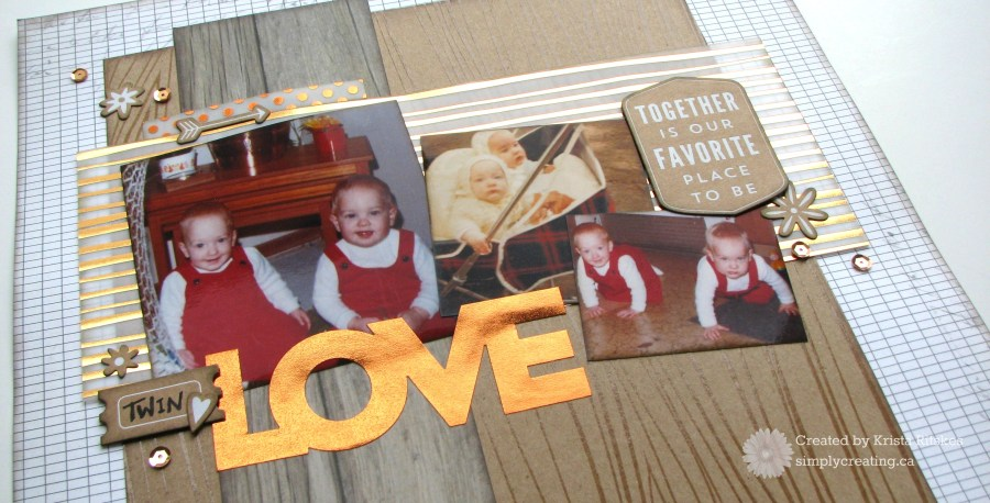 Twin love layout detail by Krista Ritskes #simplycreating