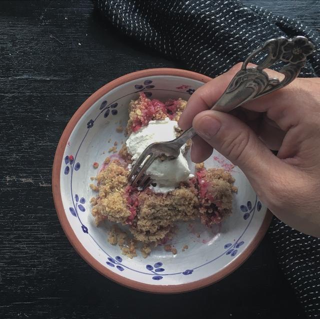 Raspberry and rhubarb crumble