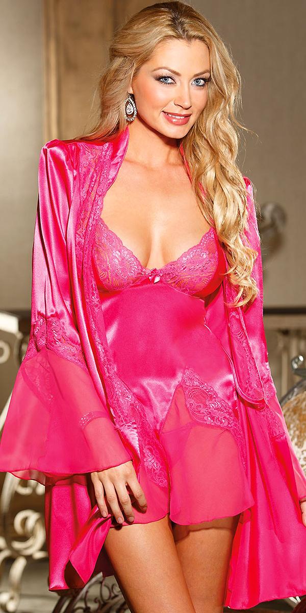 charmeuse robe babydoll set womens