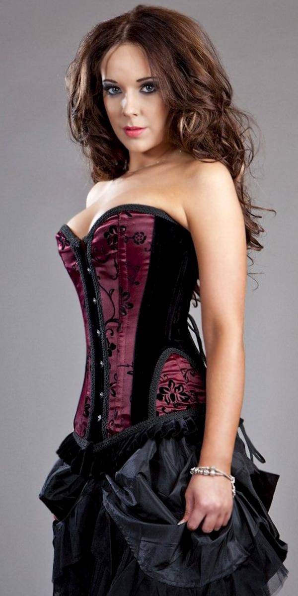 gothic corset burleska petra overbust flock corset sexy womens