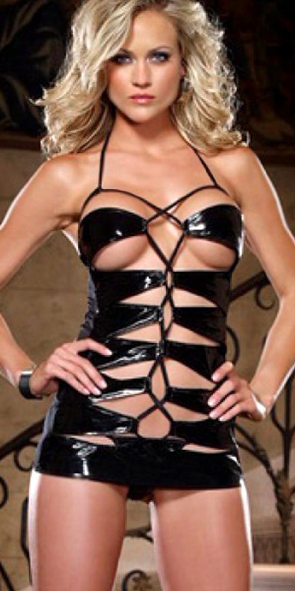 black hollow out pvc bondage catsuit sexy womens