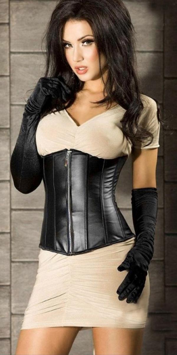 black leather zip front leather corset sexy ladies
