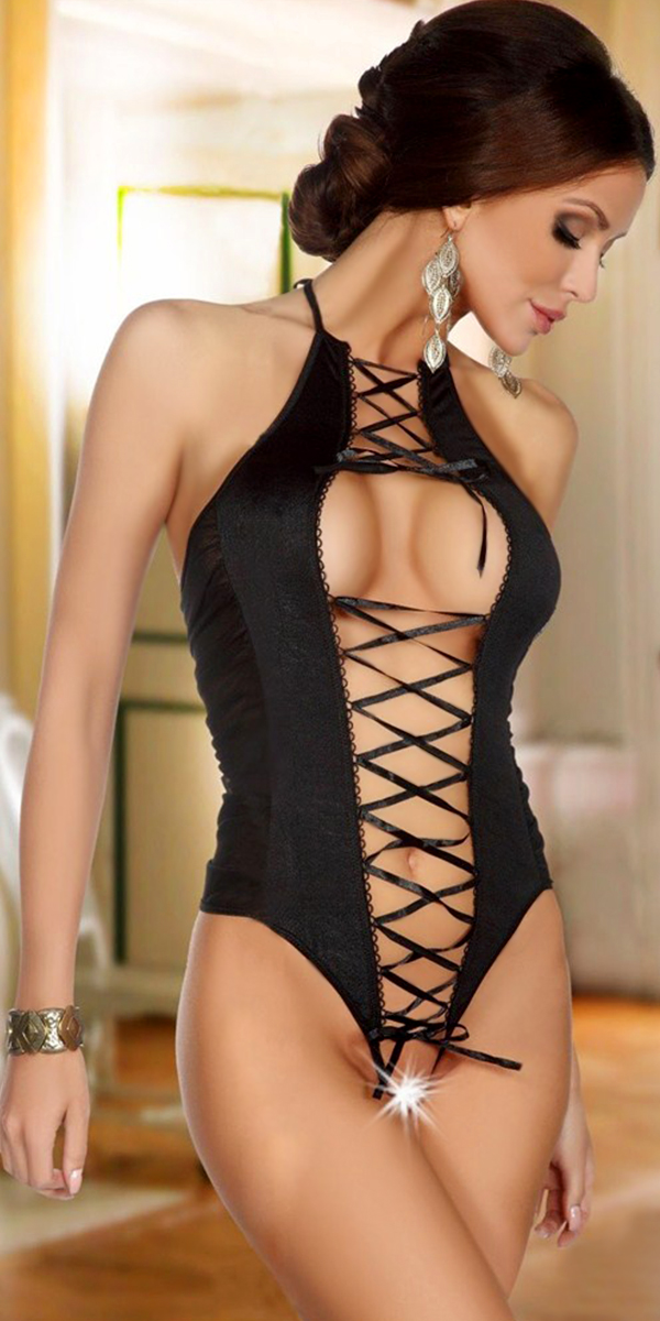 black ribbon lace-up front teddy with open crotch sexy womens