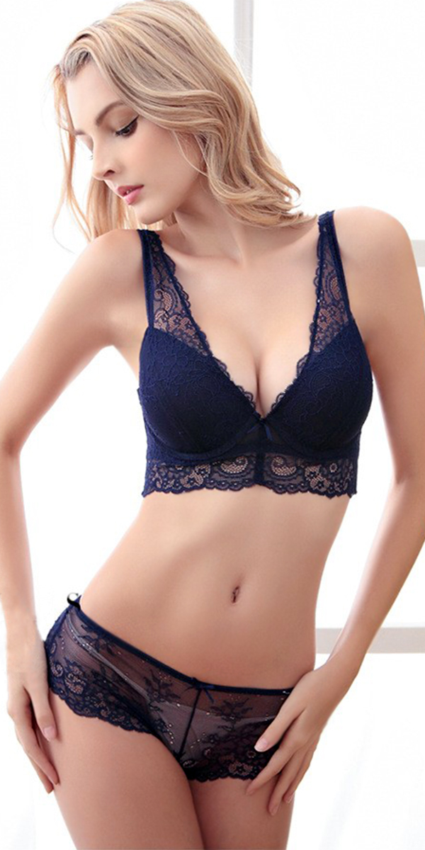 push up flory mesh ultra-thin bra set sexy womens